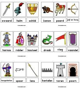 Woordkaarten downloads for Werkbladen ridders en kastelen