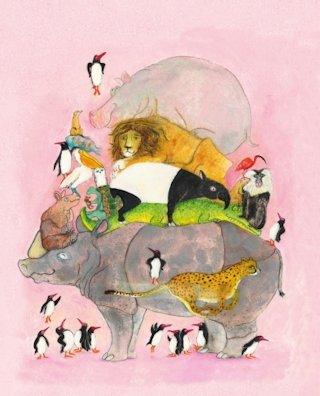 Springende pinguïns en lachende hyena's Boek omslag